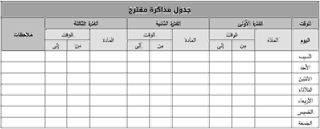 مثال عن جدول للمذاكرة جاهز