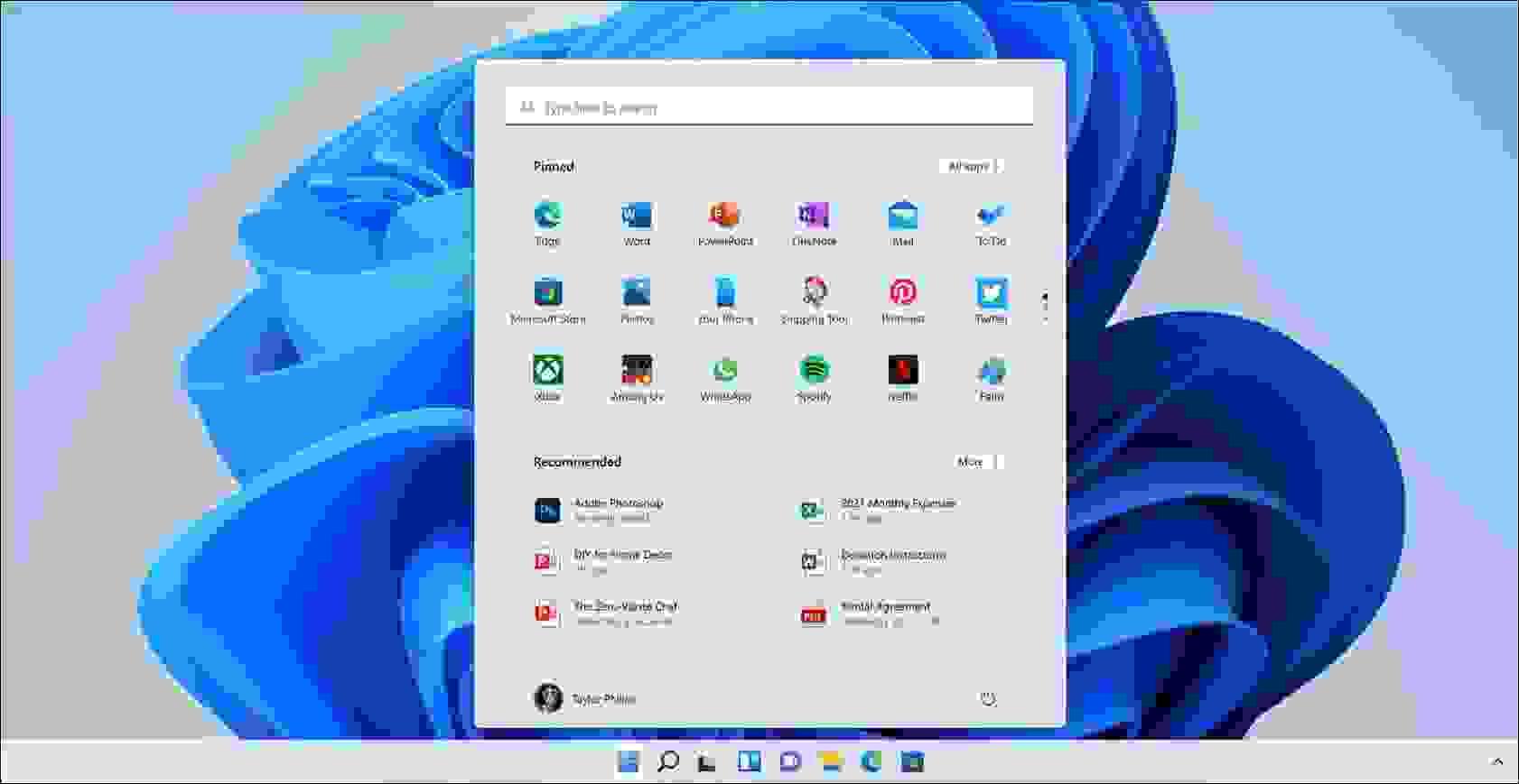 قائمة إبدأ جديدة بدون لوحات ديناميكية (Live Tiles) - مصدر الصورة مايكروسوفت