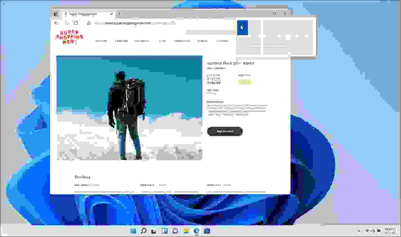 تخطيطات سناب (Snap Layouts) ومجموعات سناب (Snap Group) - مصدر الصورة مايكروسوفت