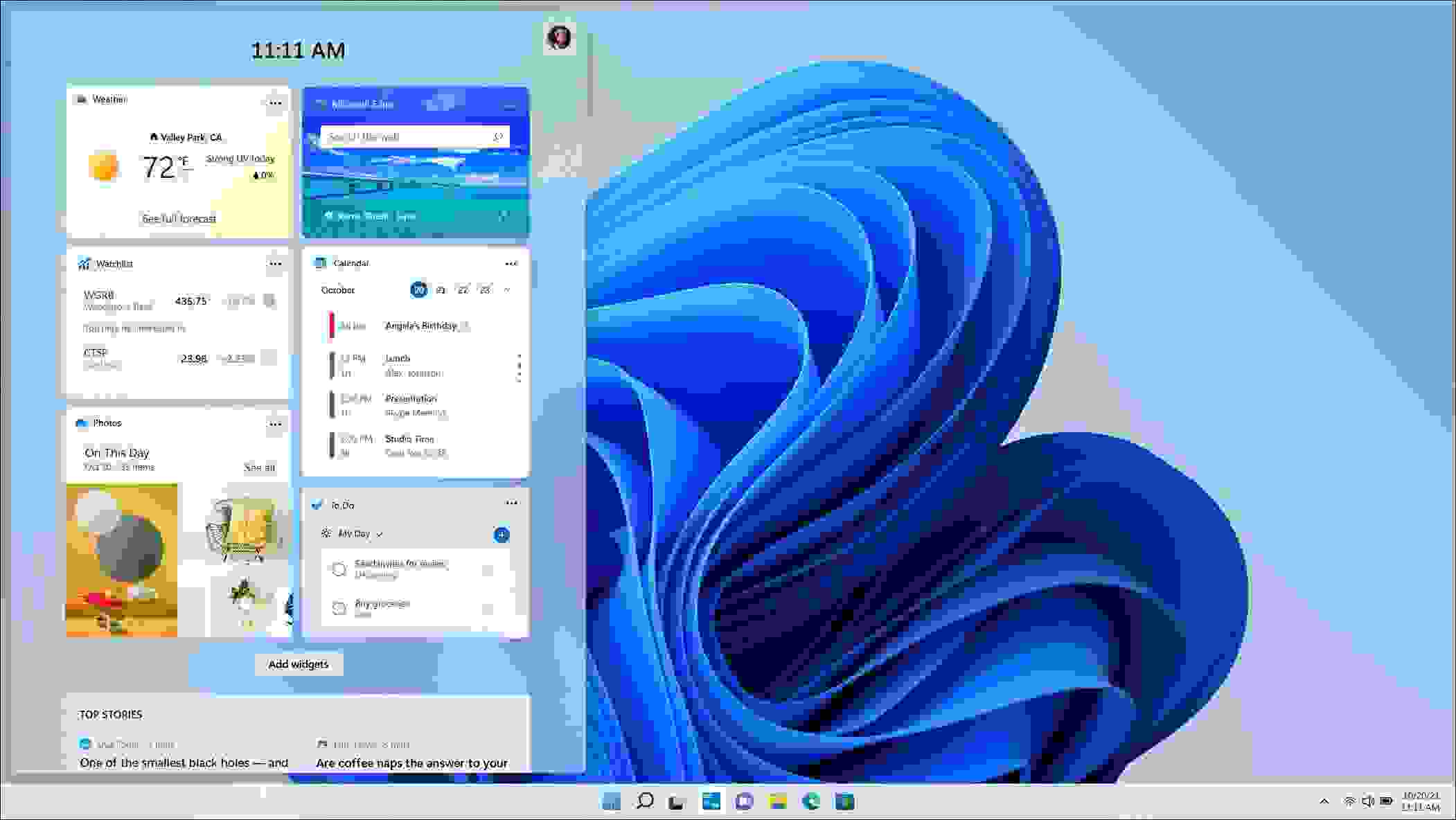 عناصر التحكم أو التطبيقات المصغرة (Widgets) تعود مجدداً إلى ويندوز 11 (Windows 11) - مصدر الصورة مايكروسوفت