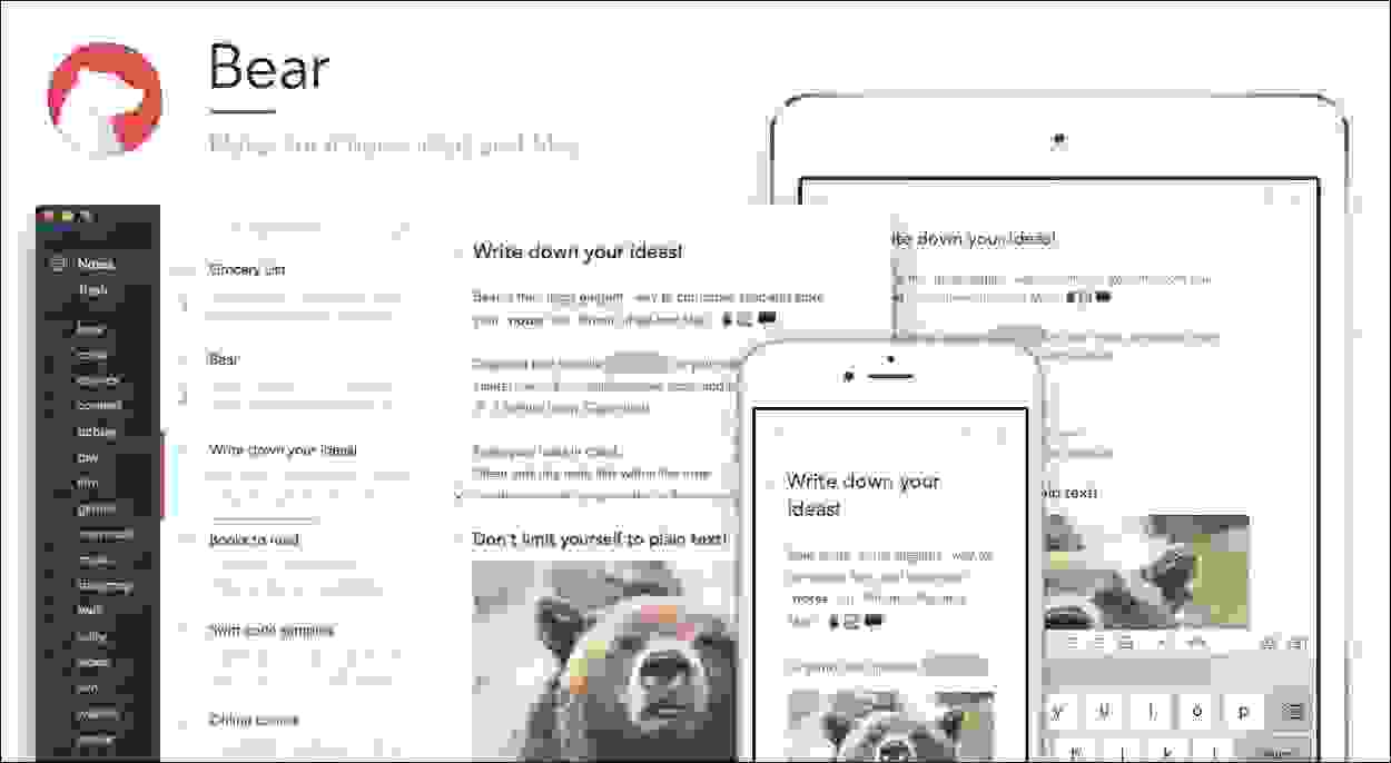 أفضل تطبيق لتسجيل الملاحظات الطويلة، تطبيق الدب (Bear)