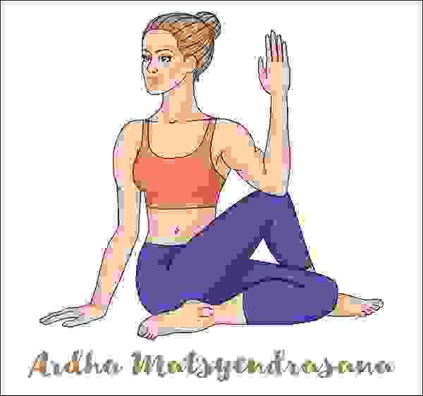 الجلوس بالتواء العمود الفقري أو ماتسياندراسانا (Matsyandrasana)