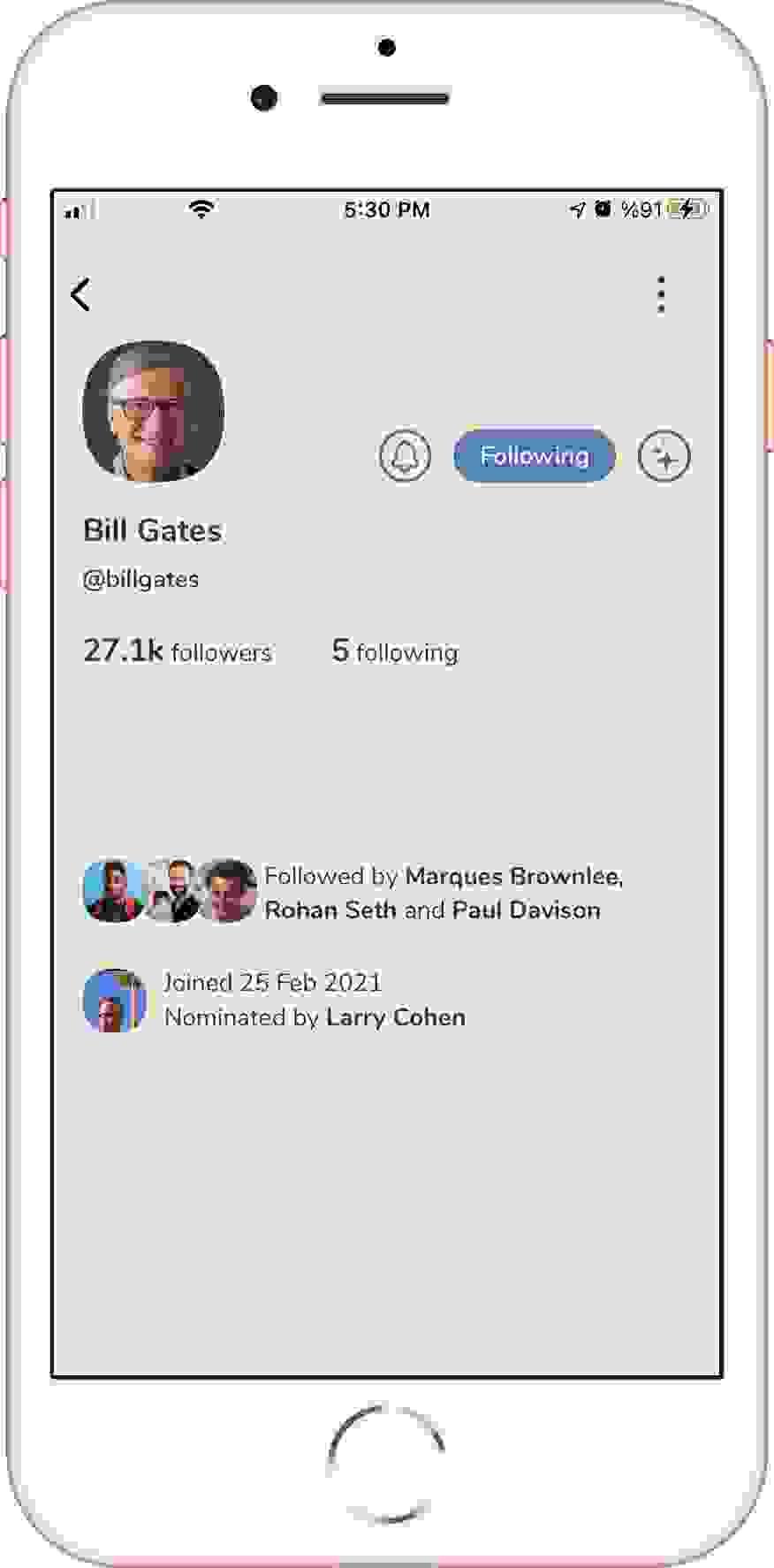 الصفحة الشخصية لبيل غيتس كما تظهر في تطبيق كلوب هاوس