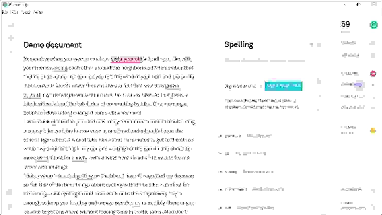 انقر فوق الكلمات التي تحتها خطٌ في النص، وسترى التغييرات الموصى بها في الطرف الأيمن من النافذة.