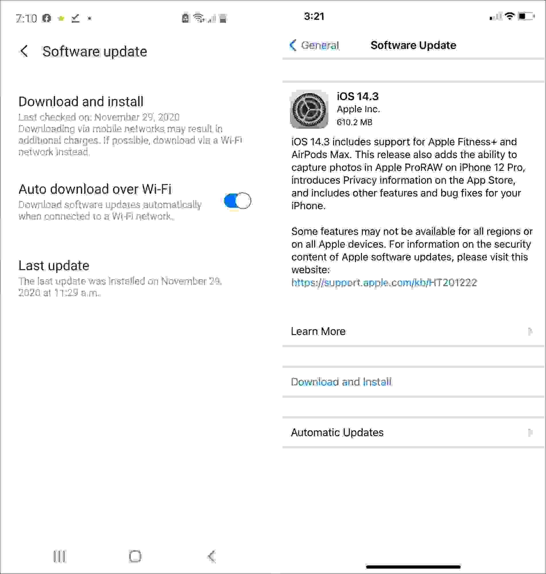 تحديثات نظام التشغيل بين أيفون وأندرويد