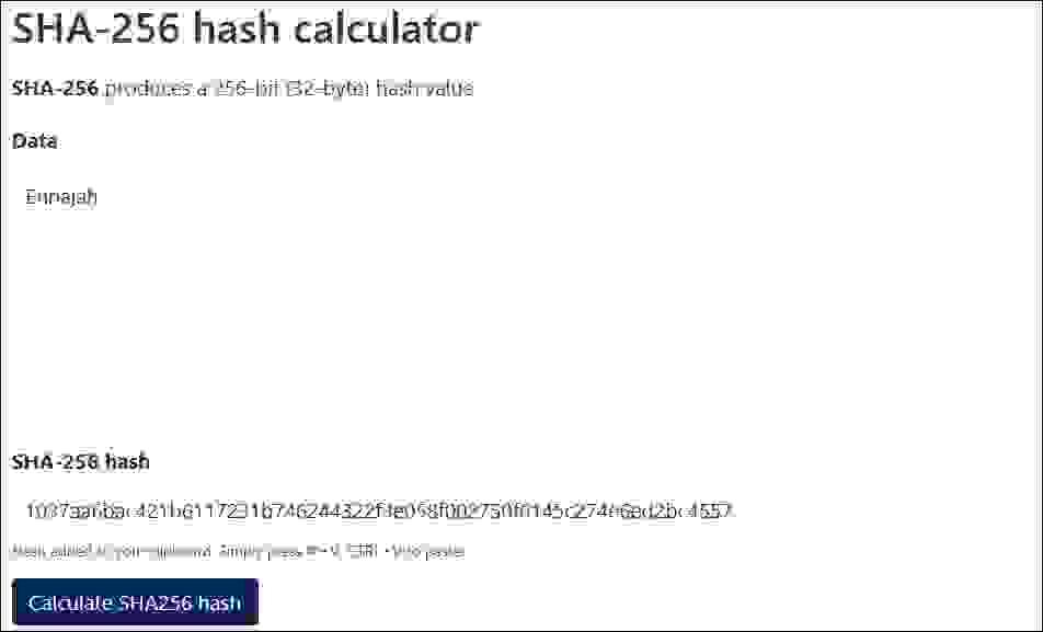 هاش كلمة (Ennajah) باستخدام SHA-256