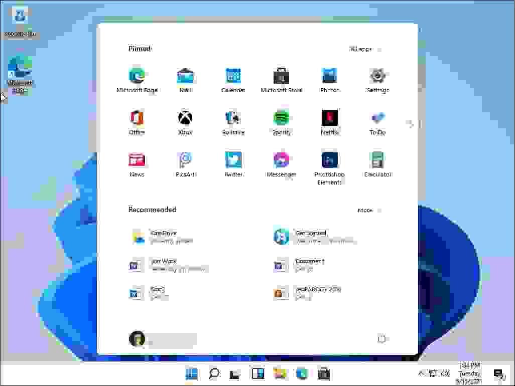 قائمة إبدأ في ويندوز 11 برو (Windows 11 Pro) - (إصدار dev).