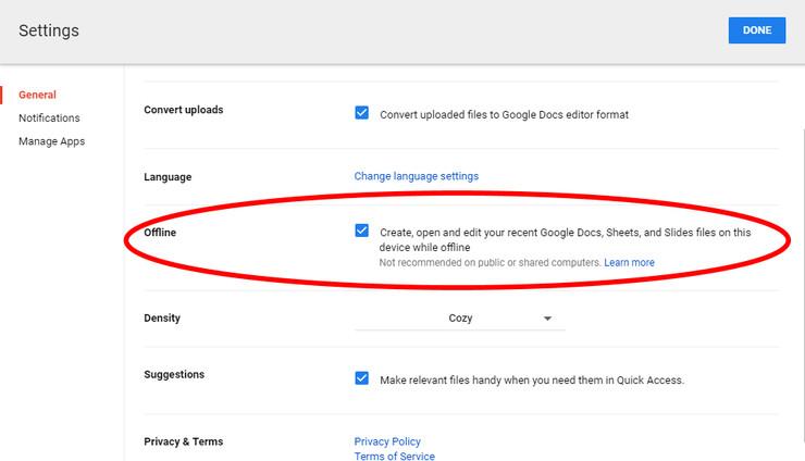 الوصول إلى الملفات في Google Drive دون اتصال بالإنترنت (سطح المكتب)