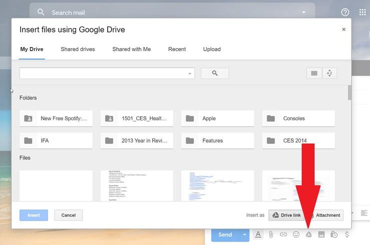 المشاركة المباشرة للمستندات عبر جيميل Gmail