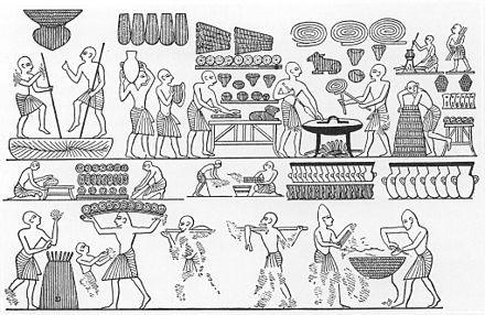 رسوم تشرح طرق إعداد الخبز مرسومة على جدران مقبرة رمسيس الثالث في وادي الملوك