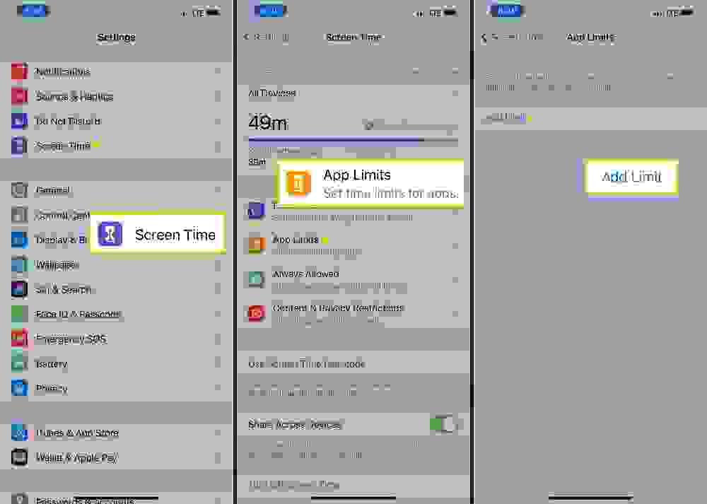 تعيين حدود الوقت للتطبيقات App Limits