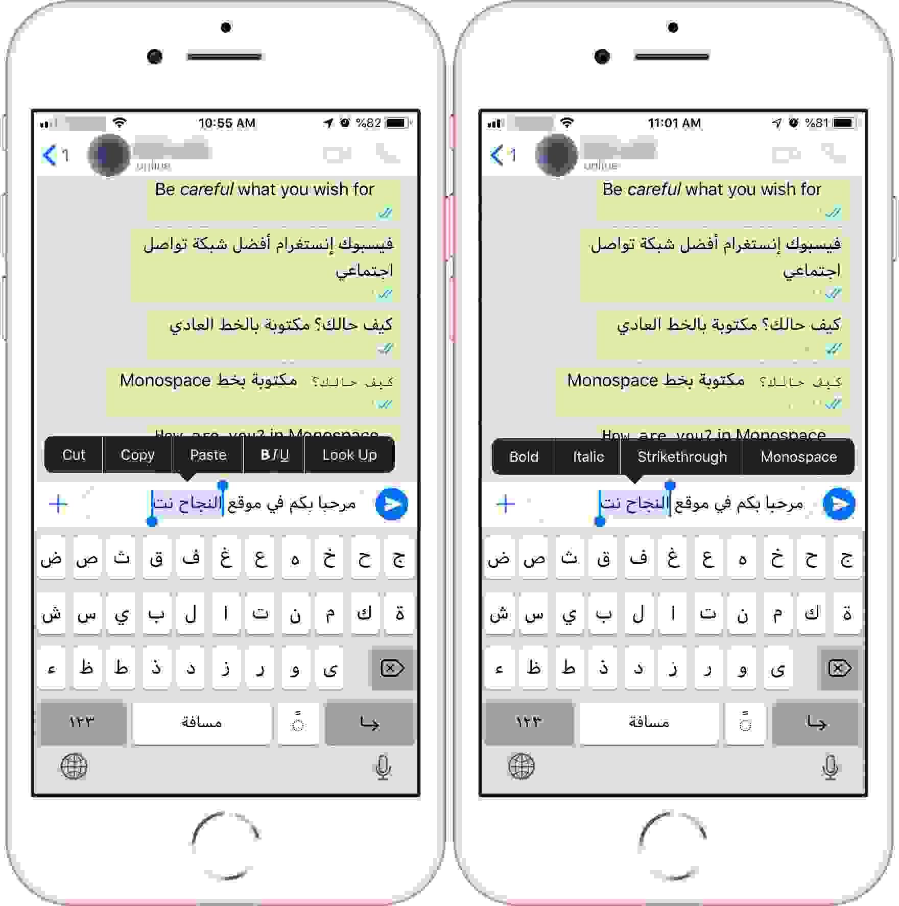 تغيير تنسيق النص باستخدام خيارات واتساب