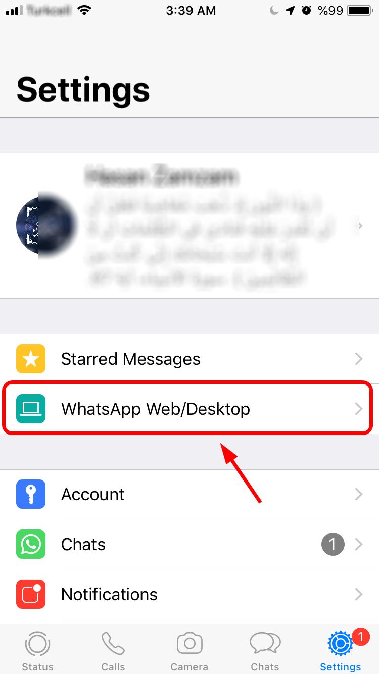 Whatsapp Web Menu - iOS